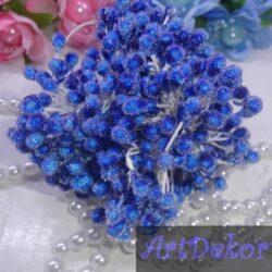 Тычинки сахарные на нитке синего цвета