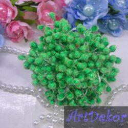 Тычинки сахарные на нитке зеленого цвета