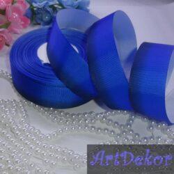 Лента репсовая 2.5 см градиент (амбре) синяя+темно синяя