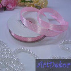 Лента атласная 1.2 см розовая в горошек