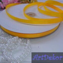 Лента репсовая однотонная 0,9 см желто гарячего цвета