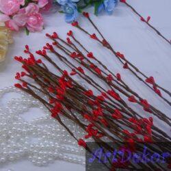 Декоративная веточка «Ивы» красного цвета