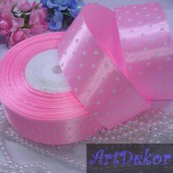 Лента атласная 4 см розовая в горох