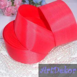 лента репсовая 4 см светло красная (фуксия)