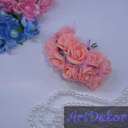 Роза из фома с фатином персиково-розовая
