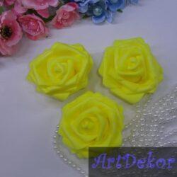 Роза из фома 7,5 см желтая