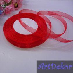 Органза однотонная 1 см красного цвета