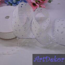 Лента репсовая с перфорацией цветочек, белого цвета, 2.5 см