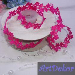 Тесьма декоративная «Цветочек», малинового цвета 2 см
