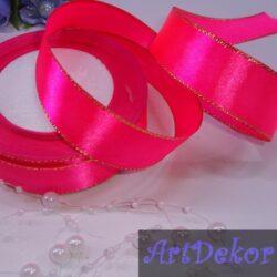 Лента с люрексом 2.5 см маркерно розового цвета