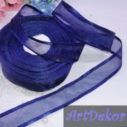 Органза с атласным краем 2,5 см темно синего цвета