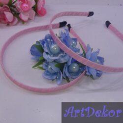 Обруч 0.8 см обкручен атласной лентой , розовый