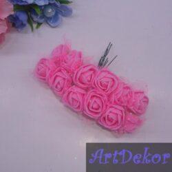 Роза из фома с фатином яркий розовый