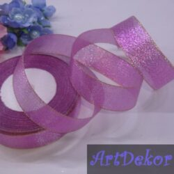 Парча 2.5 см фиолет с розовой ниткой по краю