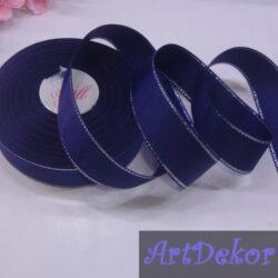 Лента репсовая 2.5 см цвет темно синий с люрексом серебро
