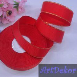 Лента репсовая 2.5 см цвет красный с люрексом золото