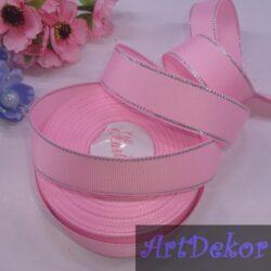 Лента репсовая 2.5 см цвет розовый с люрексом серебро