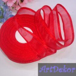 Органза с атласным краем 2,5 см красного цвета