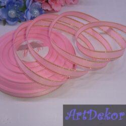 Лента репсовая 0.9 см цвет розовый с люрексом золото