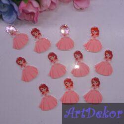 Кабошон Принцеса София, маленькая 2.5х1.8 в светло розовом плате