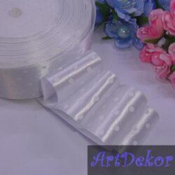 Лента атласная в горох 4 см, белая/белый
