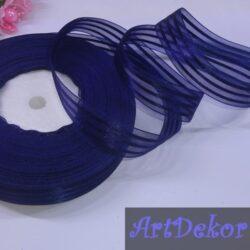 Лента органза 2.5 см с полосой, темно синий цвет
