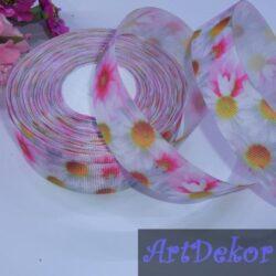 Лента репсовая с ромашками (розовая с белым)