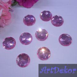 Камень круг 2 см розовый
