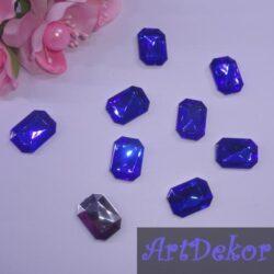 Камень прямоугольник, 1.8х1.3 см синий
