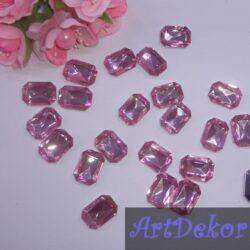 Камень прямоугольник, 1.8х1.3 см розовый