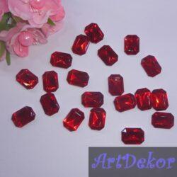 Камень прямоугольник, 1.8х1.3 см красный
