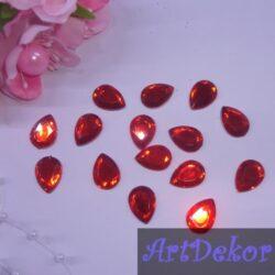 Камень капелька 1х1.4 см, красный