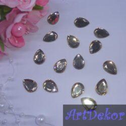 Камень капелька 1х1.4 см, золото