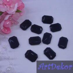 Серединка камень прямоугольный, 1.3х1.8 см черный