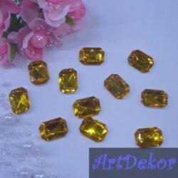 Серединка камень прямоугольный, 1.3х1.8 см желтый