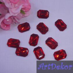 Серединка камень прямоугольный, 1.3х1.8 см красный