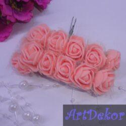 Роза 2.5 см из фоамирана с фатином пересиковая