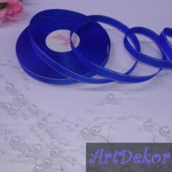 Лента репсовая 0.9 см цвет синий с люрексом серебро