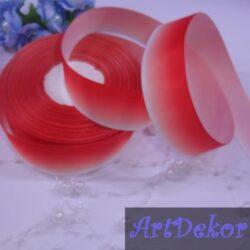 Лента репсовая 2.5 см градиент (амбре) красная +белый