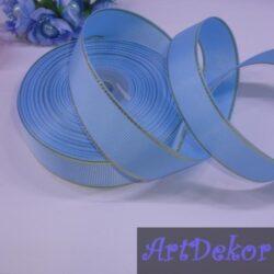 Лента репсовая 2.5 см цвет голубой с люрексом золото