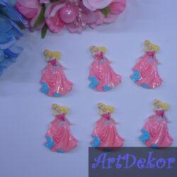 """Кабашон """"Принцесса - Золушка """" в розовом, 3.2х2.5 см"""