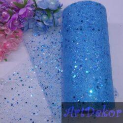Фатин с блесками голубого цвета