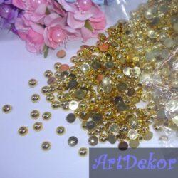 Полубусины 0.8 см золото
