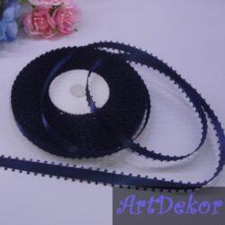 Лента атласная 0.6 см, двухсторонняя, петелька, темно синяя