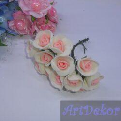 Роза 1.5 см крем + персик яркий