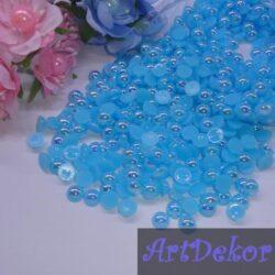 Полубусины 0.8 см ярко голубые