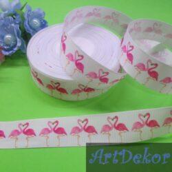 Лента репсовая 2.5 см с рисунком фламинго на белом