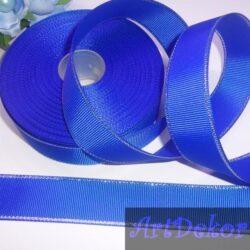 Лента репсовая 2.5 см цвет синий с люрексом серебро