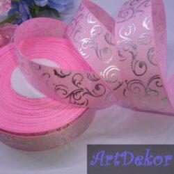 Лента репсовая вензель на розовом