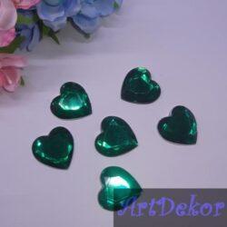 Камень сердце 2.5 см зеленое